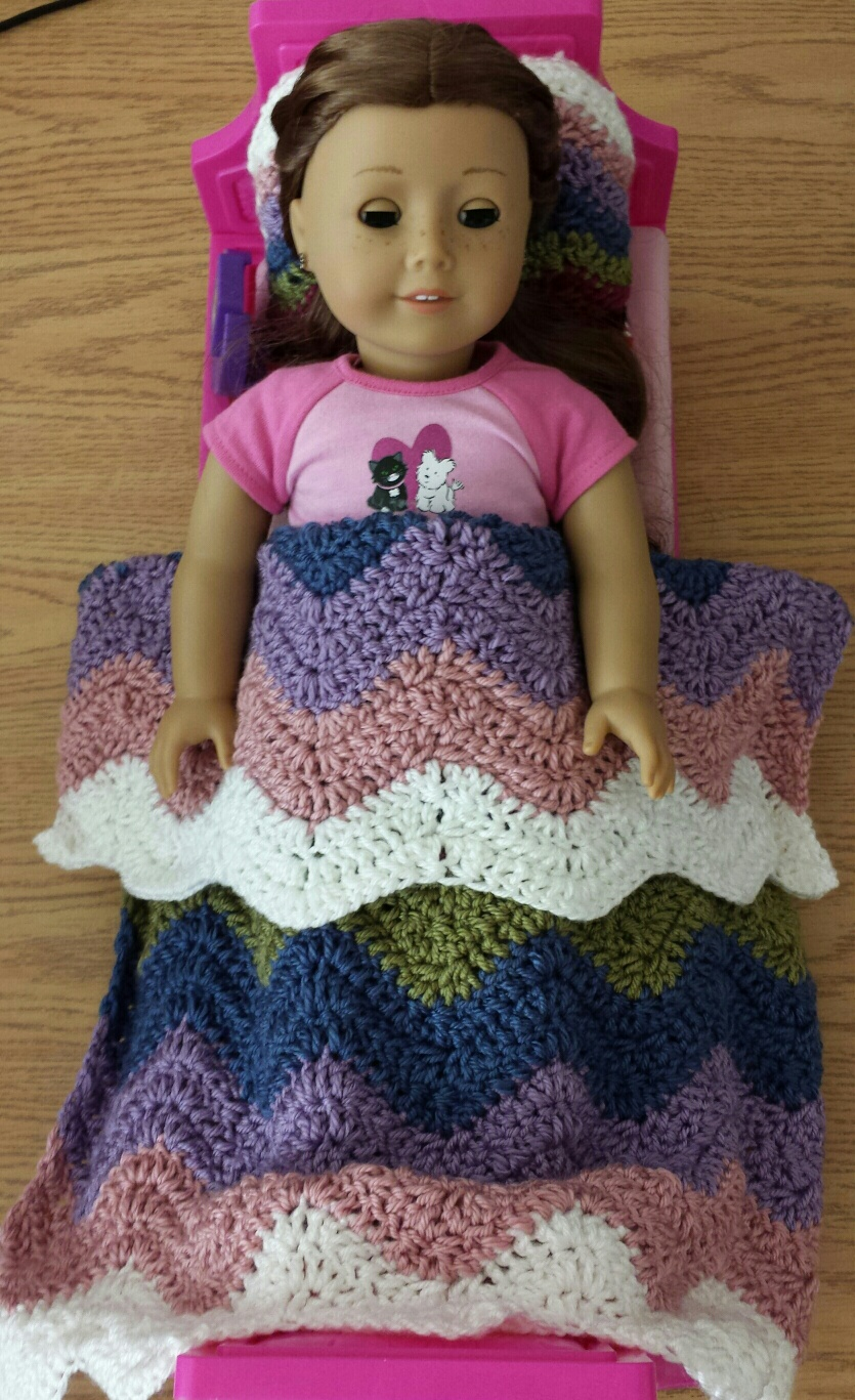 Crochet American Girl Ripple Blanket Matching Pillow ...